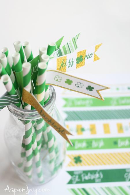 Printable St Patrick/'s Day Drink Flag Straws Printable St Patty/'s Day Flag Straws by SUNSHINETULIPDESIGN
