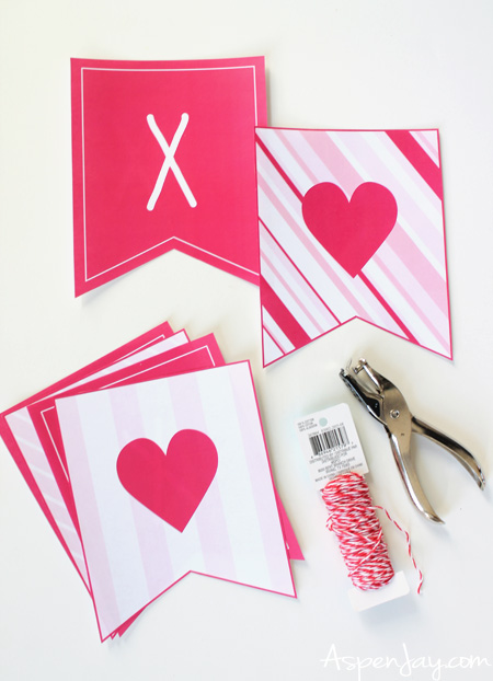 photograph about Valentine Banner Printable called XOXO Banner for Valentines Working day cost-free printable - Aspen Jay