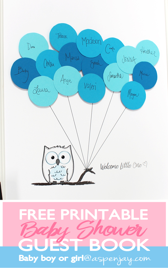 picture about Printable Baby Shower known as Totally free Owl Visitor E book Printable - Aspen Jay