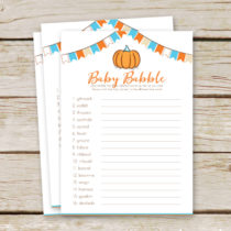 Free pumpkin baby shower game printable that would be perfect for your fall themed baby shower! Simply download and print! #pumpkinbabyshower #freebabyshowergame