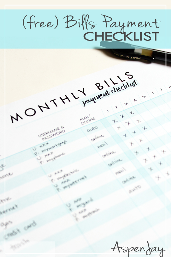 graphic regarding Bill Payment Checklist Printable named Expenses Price Record - Totally free Printable - Aspen Jay